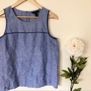 J. Crew | Blue Linen Embroidered Tank